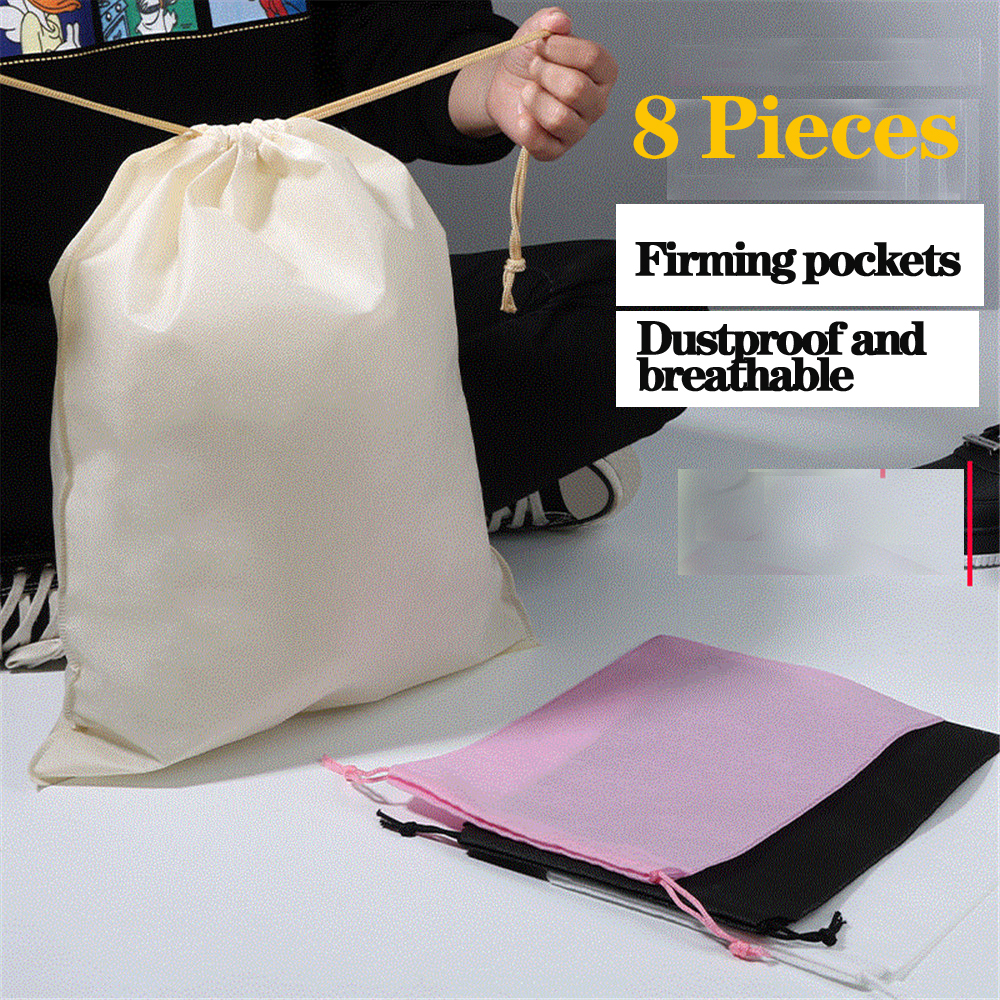 8 Pieces Waterproof Ecofriendly Pocket Storage Dust-proof Packaging Shoe Bag Toy Canvas Drawstring Portable Toiletry Travel Case