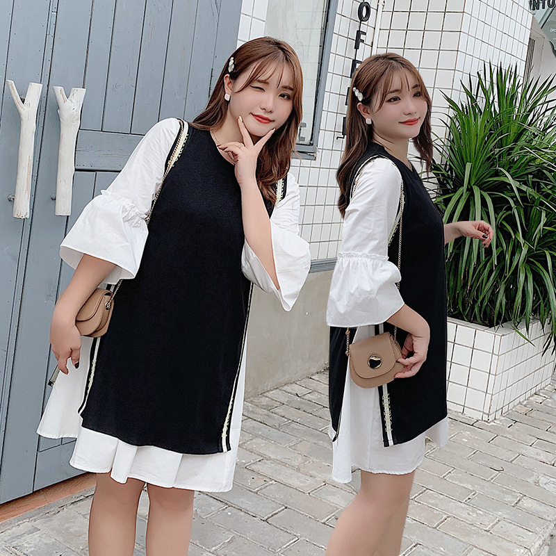 Korean-style WOMEN'S Wear Large Size Fat Mm Vest Two-piece Dress Plus-sized Loose-Fit Flounced Sleeves Belly Covering Western St