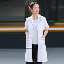 Women's Lab Coat Short Sleeve Jacket Color Blocking Uniforms Long Sleeve White Coat