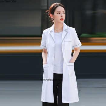 Women\'s Lab Coat Short Sleeve Jacket Color Blocking Uniforms Long Sleeve White Coat - DISCOUNT ITEM  40 OFF Novelty & Special Use