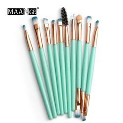 2020 New 10 pcs/set Eye Makeup Brush Green Nylon Fiber Eye Shadow Brush Cosmetics Easy To Put Portable Makeup Tool Kits