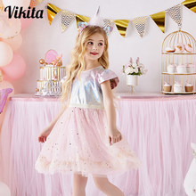 Vikita Kinderen Prinses Jurk Voor Meisjes Elegant Pageant Wedding Party Verjaardag Jurk Glanzende Pailletten Jurk Voor Meisje Zomer Jurken