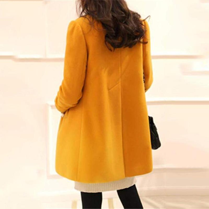 Plus Size Solid Color Overcoat A-shaped Long Sleeve Coat Women Outwear 31