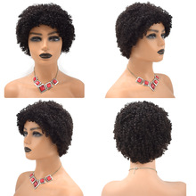 Afro Kinky Curly Short Human Hair Wigs for Black Women with Bangs African American Machine Made None Lace Front Glueless Wig US