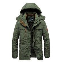 Winter Jacket Men Thick Padded Parka Fleece Liner Coat New Fur Collar Hooded Warm Outwear Male Multi-Pocket Windproof Overcoat