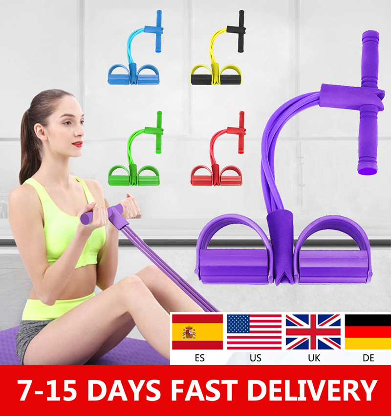 New <font><b>Fitness</b></font> <font><b>4</b></font> <font><b>Tube</b></font> Resistance Bands Latex Pedal Exerciser Sit-up Pull <font><b>Rope</b></font> Expander Elastic Bands Slim Workout <font><b>Fitness</b></font> Equipment image