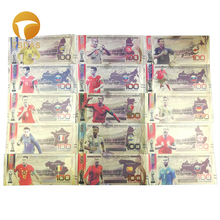 цена 15pcs/lot Russia World Cup Souvenir Colorful Trophy Football Gold Banknote For Sports Collection and Gifts онлайн в 2017 году