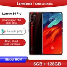 هاتف Lenovo Z6 Pro الذكي العالمي بذاكرة وصول عشوائي سعة 6 جيجابايت وذاكرة قراءة فقط 128 جيجابايت ومعالج سنابدراجون 855 ثماني النواة وشاشة مقاس 6.39 بوصات وكاميرا خلفية بدقة 48 ميجابكسل رباعية