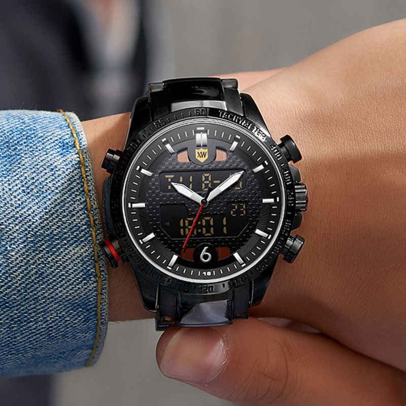 Relogio Masculino Men Watches Solar Luxury Brand Full Steel Quartz Clock Digital LED Watch Army Military Sport Watch 2019