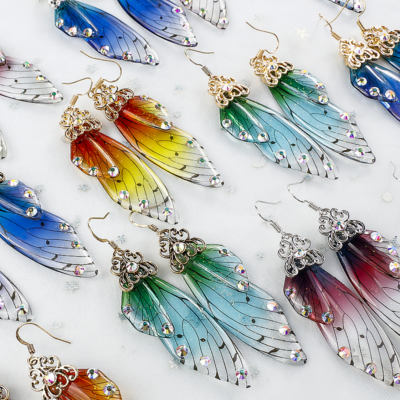 AENSOA Colorful Handmade Fairy Wing Clear Earrings Insect Butterfly Wing Drop Earrings AB Rhinestone Earrings Romantic Jewelry