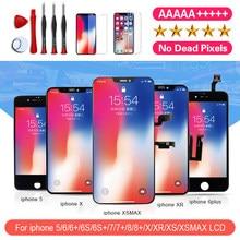 Pantalla LCD AAA ++ para iPhone 6, 7, 8, 6S Plus, X, XS, XR, XSMAX, reemplazo de pantalla táctil sin píxeles muertos, vidrio templado, herramientas y calidad de TPU
