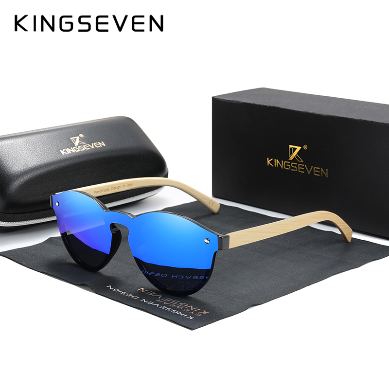 Custom LOGO KINGSEVEN Bamboo Series Polarized Men's Glasses Wooden Vintage Sunglasses UV400 Protection Fashion Women Eyewear