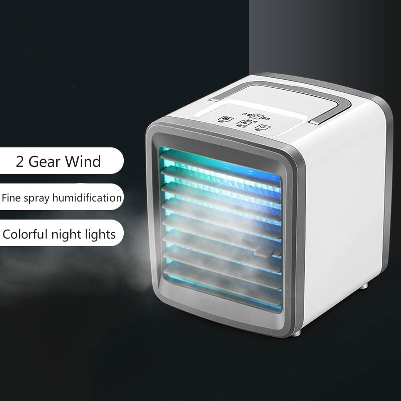Portable Air Cooler Small Air Conditioner Fan Cooling And Humidification Spray Home USB Charging Fan Ventilator Colorful Lights