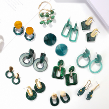 AENSOA Hot Sell Acrylic Green Series Geometric Drop Earrings For Women Round Square Long Statement Fashion Jewelry