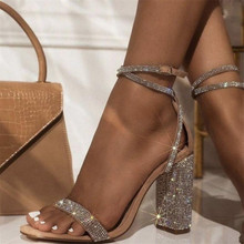 Sexy rhinestone Women Sandals Square High Ankle Cover Heel R