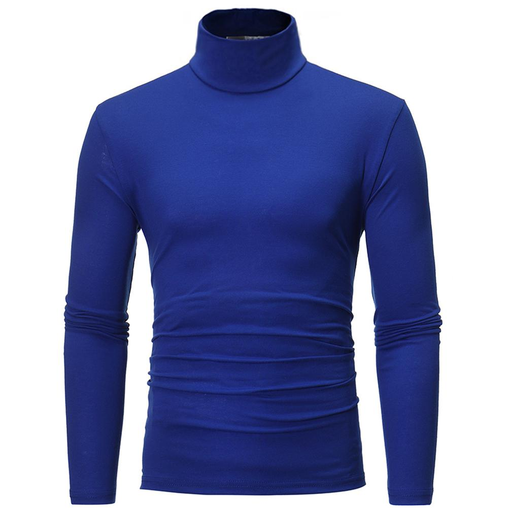 New Men Fashion Solid Color Long Sleeve Turtle Neck Slim Fit Sweater Bottoming Top