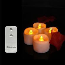 6-Flickering Remote-Control-Candles Tealights-Decoration Pack Flameless Electric Yellow
