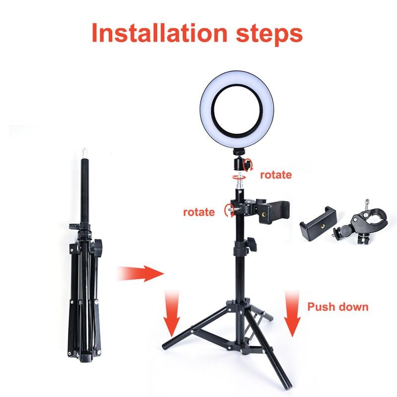 LED Ring Light Selfie Phone Holder Stick Lamp 74 Leds Novelty Lighting Photo Fill Light Toning Brightness Adjustable Tripod