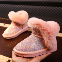 Children snow boots girl Baby winter shoes toddler kids boot genuine leather zapato rabbit fur princess botas botte enfant fille