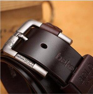 Image 4 - جديد حزام للرجل مصنع جلد طبيعي جلد البقر جلد البقر الرجال عارضة دبوس مشبك نوعية جيدة الذكور حزام ل الجينز الدنيم Vintage