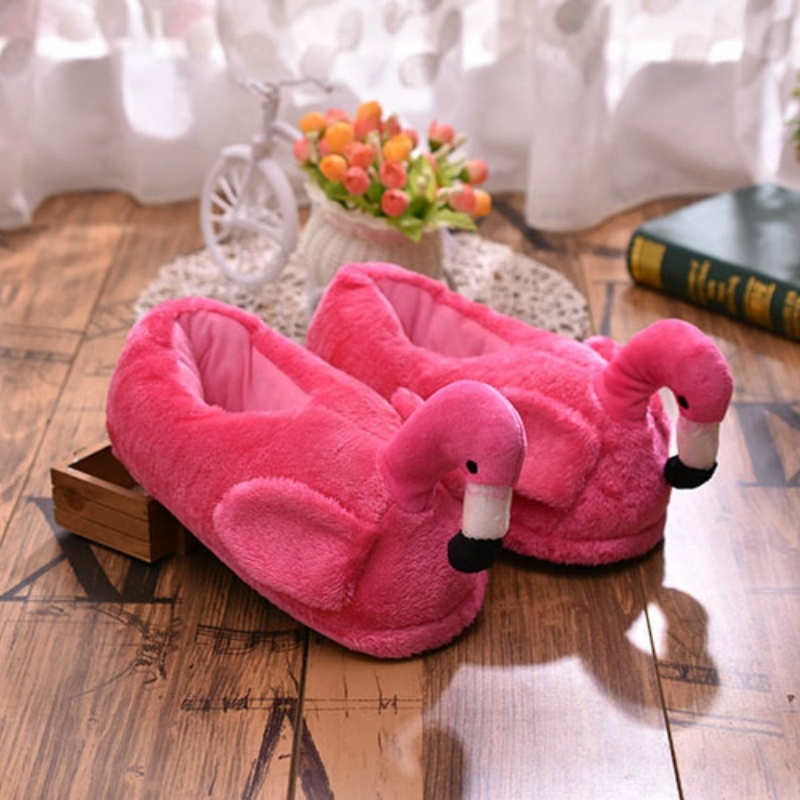 Winter Frauen Hausschuhe Flamingo Maultiere Pelz Plüsch Warme Hausschuhe Plattform Cartoon Slip auf Unisex Hause Hausschuhe 2022w
