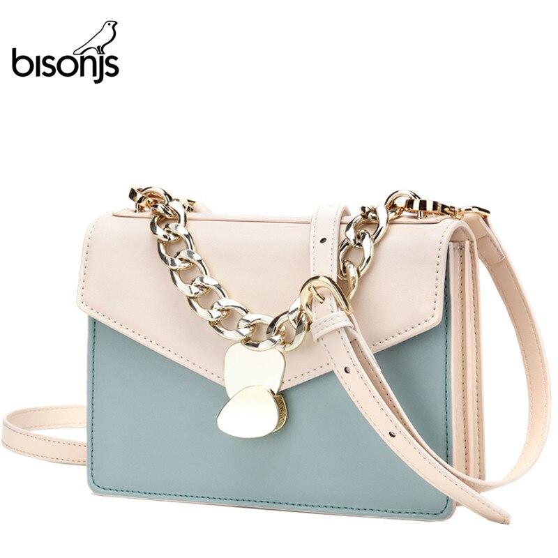 BISONJS luxury handbags Women Bags designer Cow Leather Fashion crossbody bags for Women  Ladies Shoulder Bag bolsa B1626