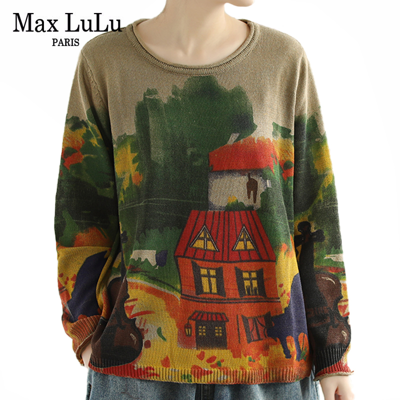 Max LuLu New 2020 British Fashion Style Ladies Luxury Printed Sweaters Womens Vintage Loose Jumpers Knitted Knitwears Pullovers
