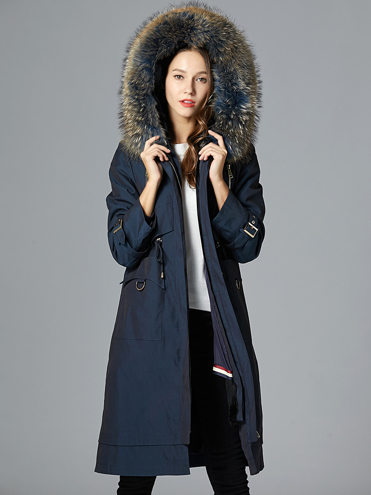 Parka 2020 Real Fur Coat Female Rabbit Fur Liner Long Jacket Winter Coat Women Raccoon Fur Collar Warm Parkas MY4576 S