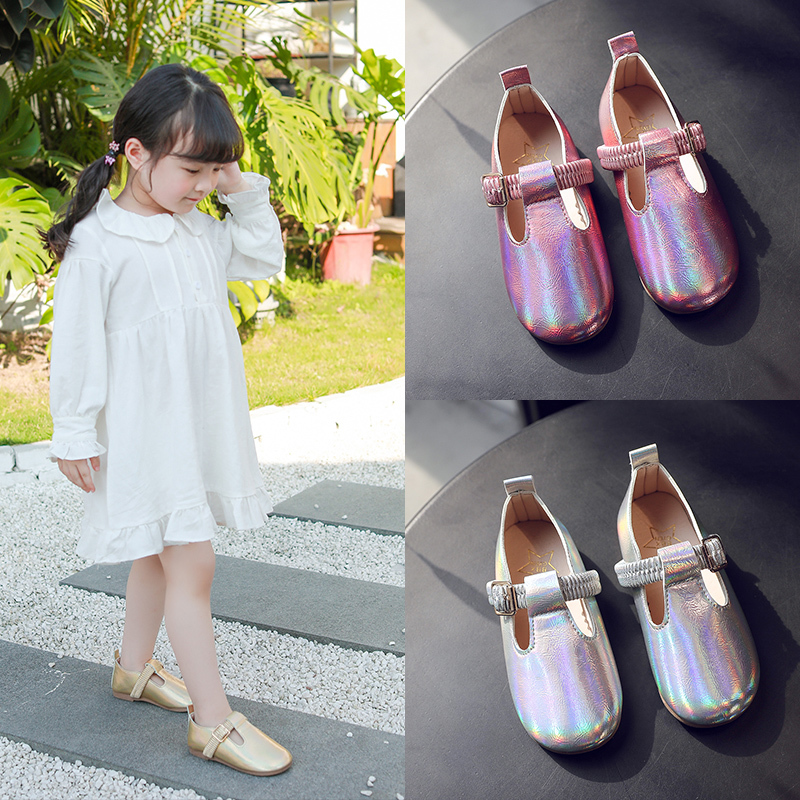 Girls Shoes 2020 New Fashion Korean Children's Spring Wide Laser Leather Buckle Princess Shoes Kids Shoe Girls Sneakers