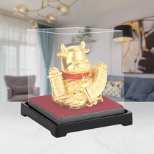 2021 Chinese Zodiac Ox Year Statues Small Size Gold Foil Crafts Resin Collectible Figurines Table Decor Statue Home Office Decor