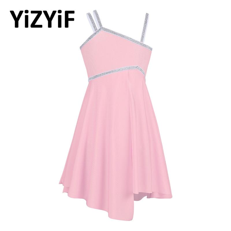 YiZYiF Kids Girls Dresses Ballet Tutu Leotard Dress Latin Asymmetrical Shoulder Straps Shiny Dance Dress Jazz Stage Dancewear