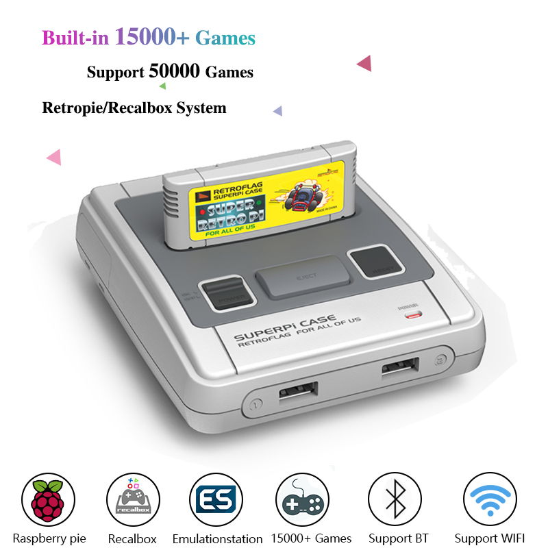 HDMI Out Retroflag NES/SNES/MEGA/MODERN Case With Raspberry Pi 3B Video Game Console Pre-install Recalbox With 15000+ Games