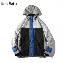 Una Reta Man Jacket With Hooded Autumn New Fashion casual Coat Jackets Men Hip Hop Plus Size Streetwear Patchwork Print Jacket(China)
