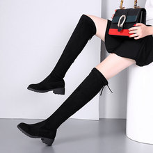 BORRUICE 2019 Over The Knee Boots Autumn Winter  Elastic Thigh High Boots Long Shoes Woman Boots Square Flat Heel Shoes Female over the knee boots long boots children s autumn and winter 18 new flat bottom wild thin high tube lycra elastic women s boots