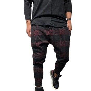 MJARTORIA New Men Long Casual Sport Pants Slim Fit Plaid Trousers Running Joggers Puls Size Sweatpants Male
