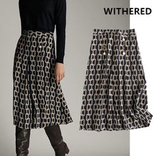 Withered england office lady urban elegant Iron chain print midi skirt faldas mujer moda 2020 long skirts womens 2 pieces set(China)