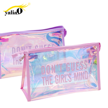 Get more info on the YALIAIO Colorful Cosmetic Cases Laser Makeup Bags Women Toiletries Organizer Pvc Waterproof Zipper Purse Transparent Travel Bag