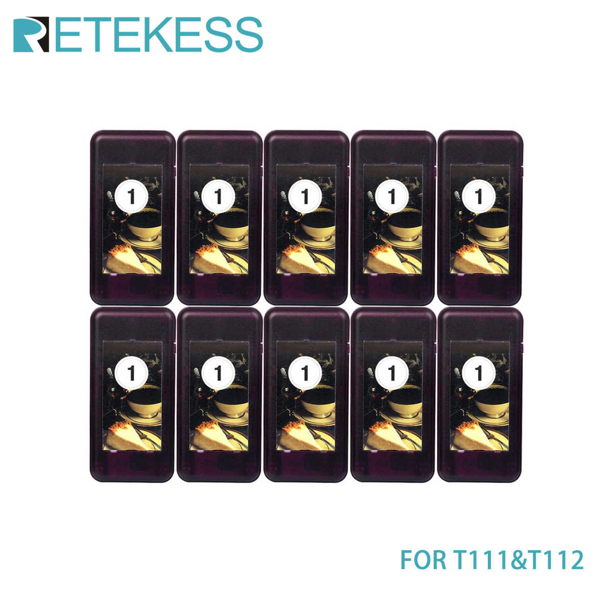 Retekess 10 pcs Coaster Pager Receiver for T111/T112 Wireless Restaurant Paging Queuing System Calling System 433MHz