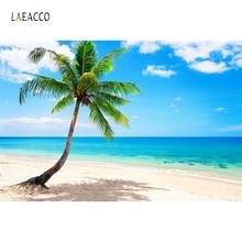 Laeacco Summer Blue Sky Seaside Beach Palm Tree Scenery Photography Backgrounds Custom Photographic Backdrops For Photo Studio