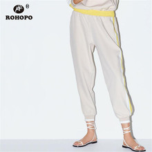 ROHOPO Autumn Women Jogger Pencil Pant Side Striped Ladies Soft Sweat Trousers Buttoms #27352