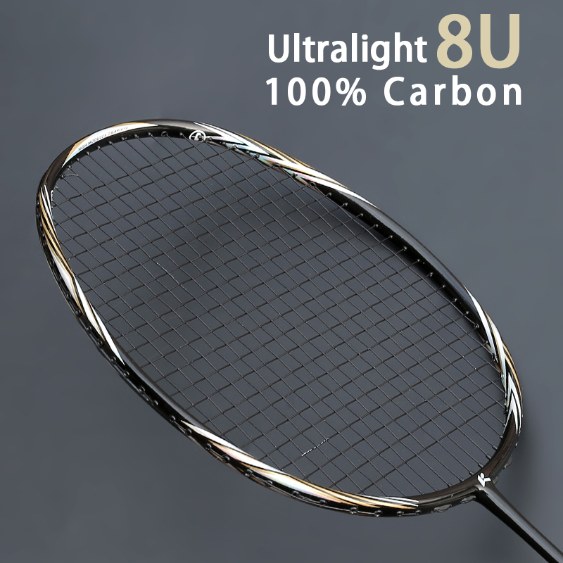 High Quality Super Light 8U 65g Professional Carbon Fiber Badminton Rackets String Bags Multicolor Offensive Type Rackets Strung