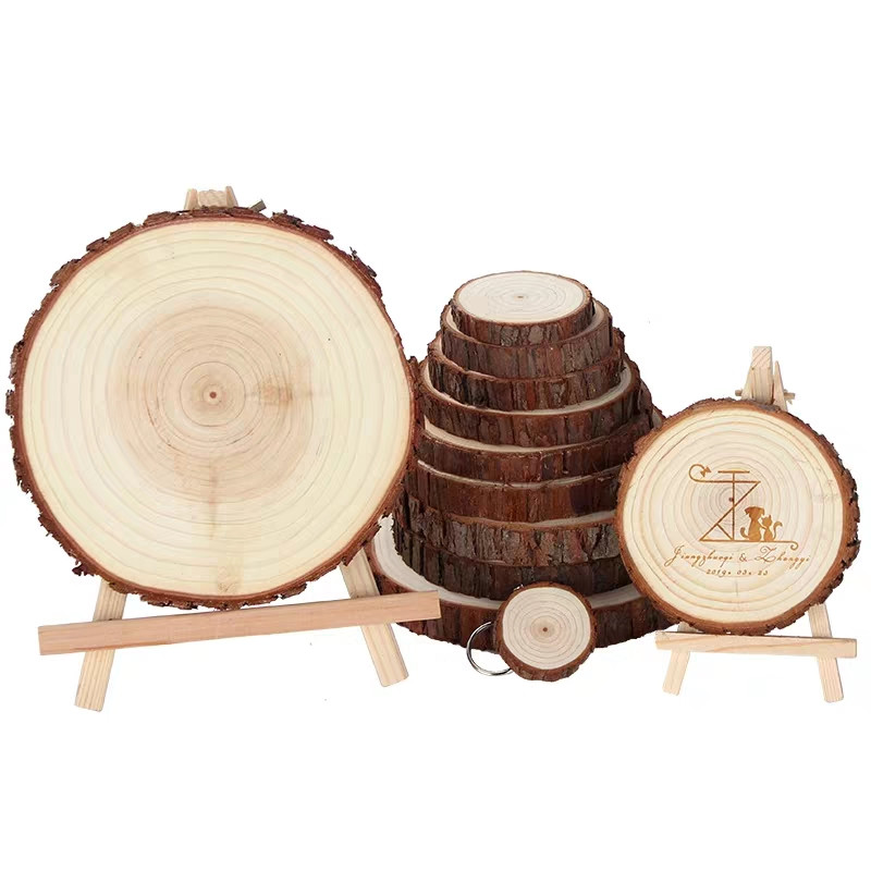 Tranches de bois naturel non finis, cercles ronds à faire soi-même avec écorce d'arbre, disques de bûche, jouet pour décoration intérieure, figurines faites à la main, 1/2 pièces, 8-15CM