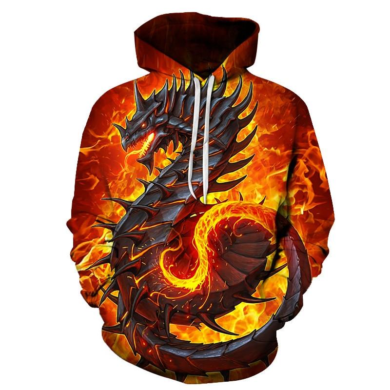 Autumn Winter Undefined Fashion Men Sweatshirt 3D Dragon Print Hoodies Funny Streetwear Hooded Pullovers Jacket Oversized 6XL