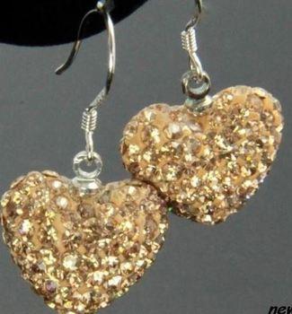 Uik3 ng, pendientes de corazón colgante chapados en plata con Disco de cristal Rosa Blanco mezclado, lote de joyas colgantes de diamantes de imitación hrg3