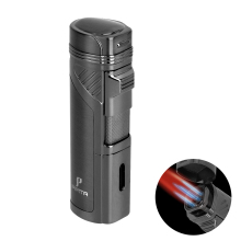 цена на PIPITA Cigar Lighter with Punch, Windproof Butane Gas 4 Torch Jet Red Flame Metal Cigar Lighter Refillable Cigarette Lighter