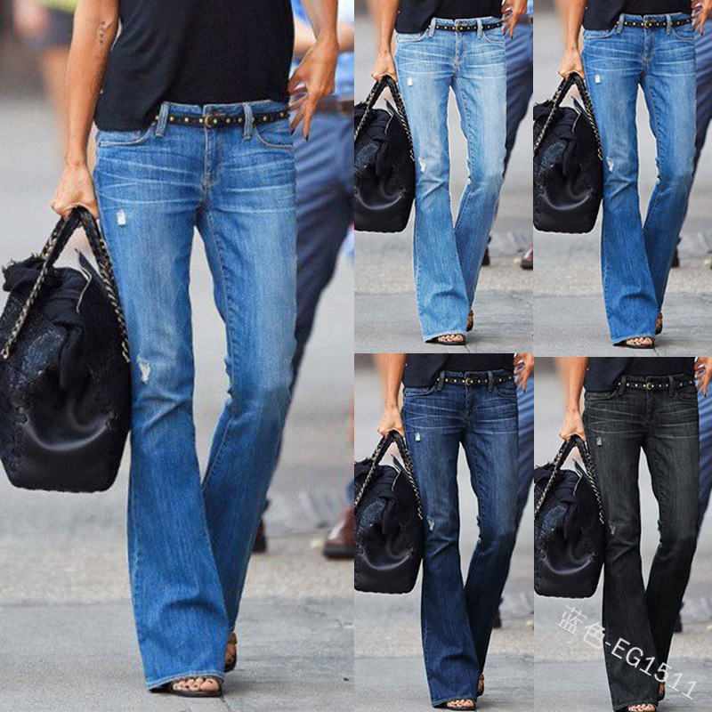 WEPBEL New Fashion Women Casual Skinny Denim Washed Slim Fit Ripped Bootcut Bell Jeans Plus Size S-3XL