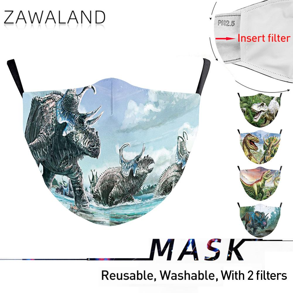Zawaland Dinosaur Mouth Mask Adult Child Rhinoceros Print Mask Reusable Cosplay Party Mask Washable Protective Filters Mouth Cap