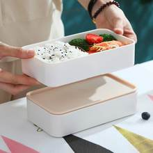 Japanese-style Lunch Box Portable Double-layer Separated Lunch Box Microwave Oven Heating Mess Tin for Students Office Worker(China)