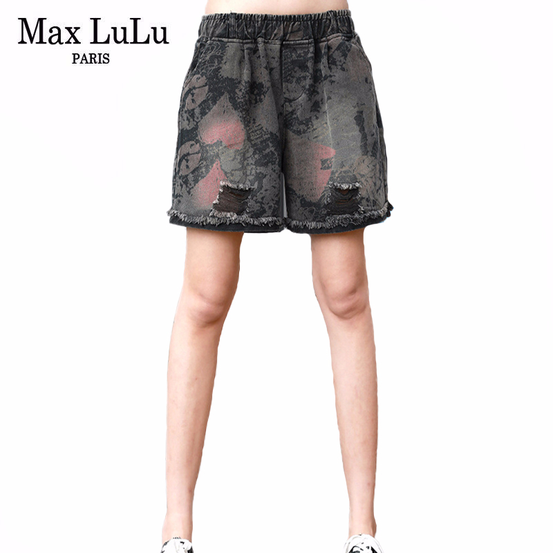 Max LuLu 2020 New Summer European Fashion Designer Ladies Vintage Denim Trousers Womens Loose Holes Jeans Casual Printed Shorts
