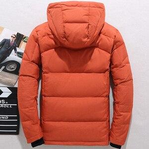 Image 3 - Мужская парка на пуху высокого качества, Толстая теплая зимняя куртка с капюшоном, плотное пальто на утином пуху, повседневное облегающее пальто со множеством карманов для мужчин